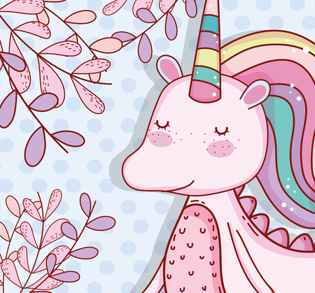 cute unicorn with horn and plants leaves vector illustration