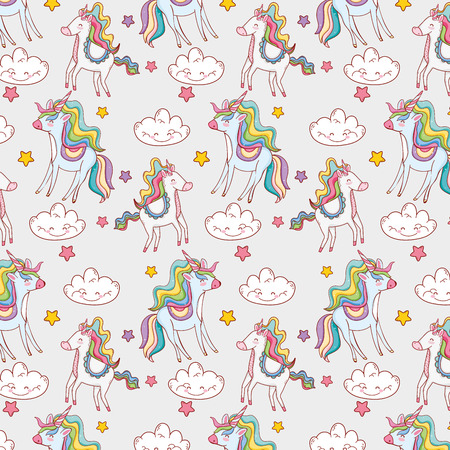 cute unicorn with kawaii clouds and stars background Stock Photo