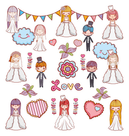 girls and boys couple marriage celebration vector illustration Ilustração