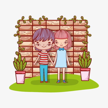 cute girl and boy clouple with plants vector illustration Stock Illustratie