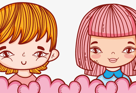 romantic girl and boy couple with hearts vector illustration