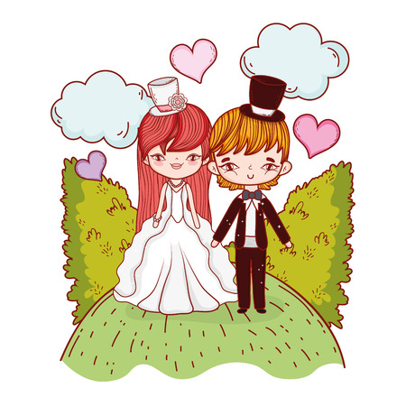 girl and boy couple with clouds and bushes vector illustration