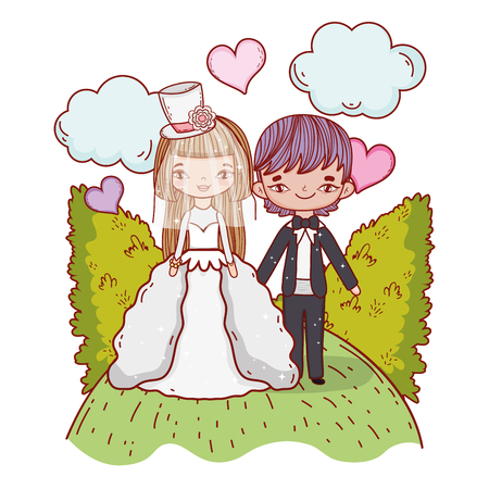 girl and boy couple marriage with bushes and clouds vector illustration