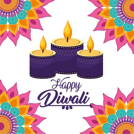 diwali candles lits with mandalas flowers