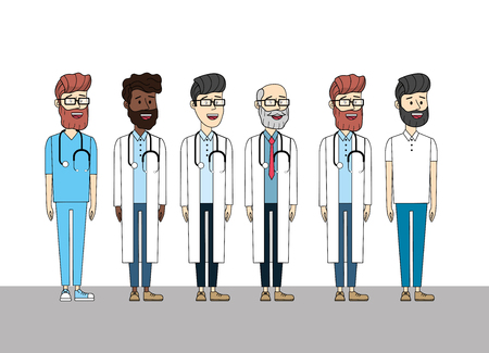 doctors with stethoscope medial diagnosis and man vector illustration