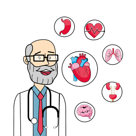 doctor with health prevention diagnosis and stethoscope vector illustration  イラスト・ベクター素材