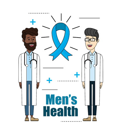 doctors with stethoscope with ribbon mens health vector illustration Illustration