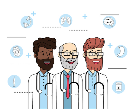 happy doctosr with stethoscope and diagnosis treatment vector illustration