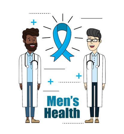 doctors with stethoscope with ribbon mens health vector illustration Stock Photo