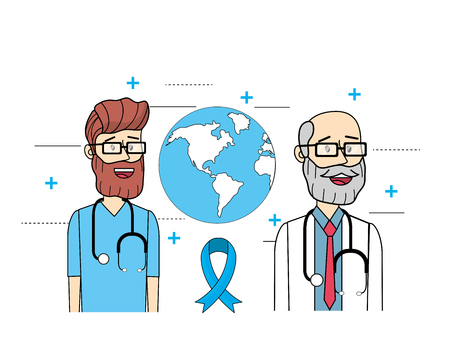 global doctors with stethoscope to mens health vector illustration