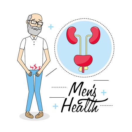 old man with illness of the urinary system vector illustration Illustration