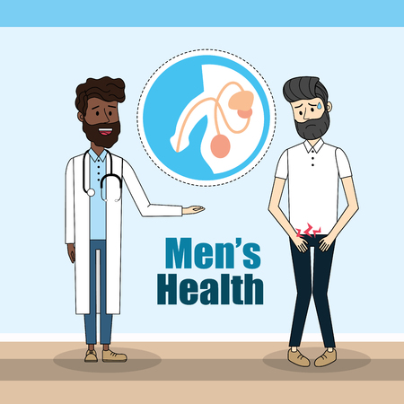 doctor diagnosis and man with renal infection
