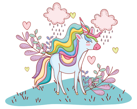 Unicorn on landscape with clouds and leaves cute cartoons vector illustration graphic design