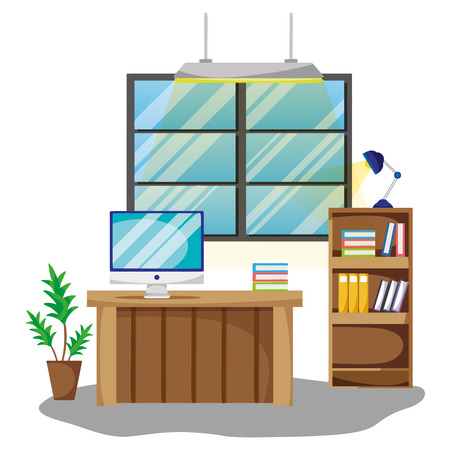 Empty office interior with elements and furniture vector illustration graphic design