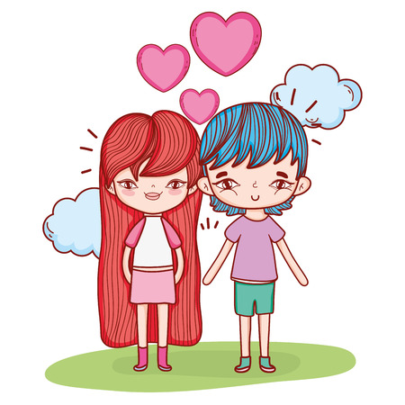 boy and girl couple cute drawings vector illustration graphic design