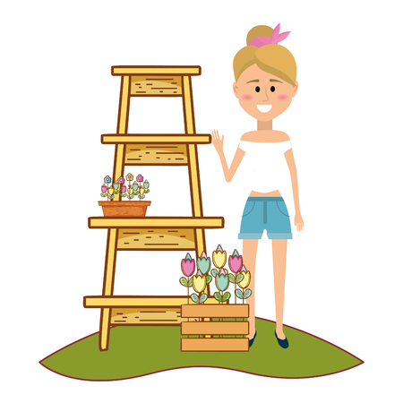 woman standing by flower stall at farmers market vector illustration graphic design