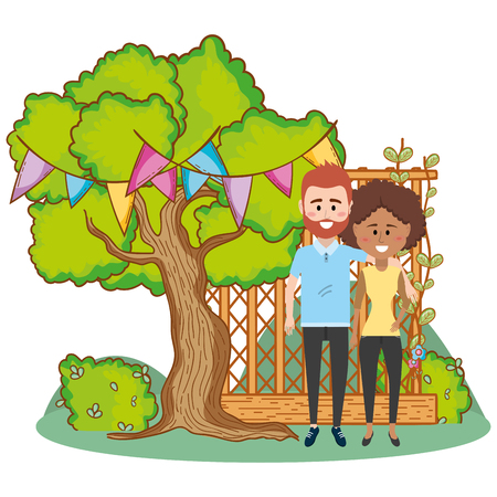 young couple enjoying spring in nature cartoon vector illustration graphic design Stock Illustratie