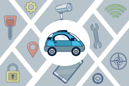 Tecnología de automóvil autónomo Ilustración de vector