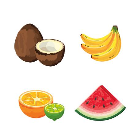 Set delicious organic fruit tropical nutrition Standard-Bild - 109884206
