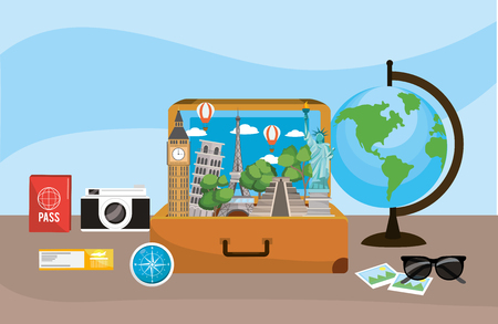 Travel briefcase with global map destination Stock Photo