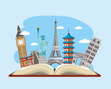 Book with international travel place destination Stock Photo