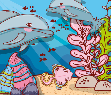 underwater sea animals ecosystem vector illustration graphic design 矢量图像