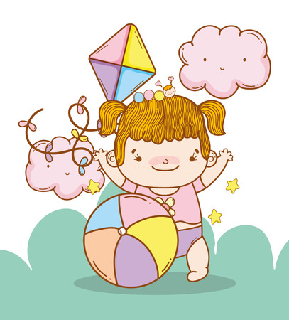 baby girl with kite and ball toys vector illustration