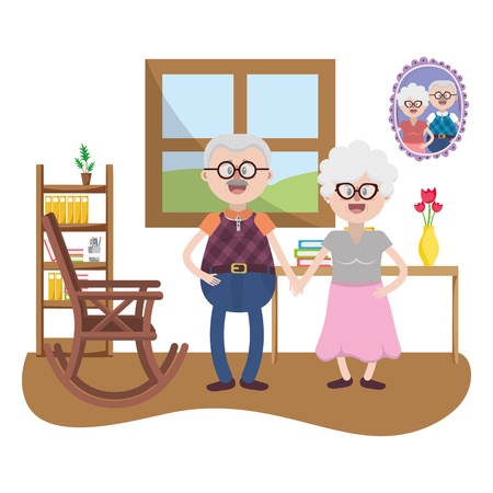 elderly household cartoon Illustration