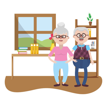 elderly household cartoon Illustration