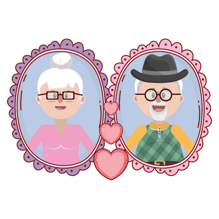 elderly couple smiling portrait frame cartoon vector illustration graphic design