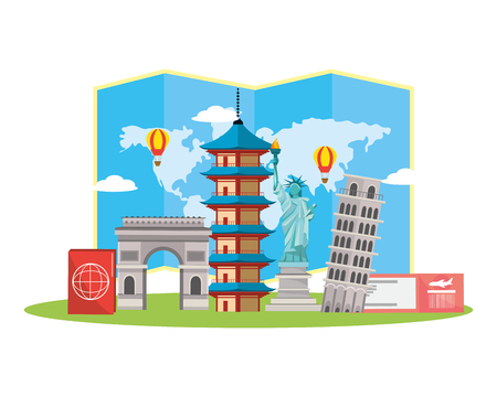 world travel tourist destinations and landmarks cartoon vector illustration graphic design