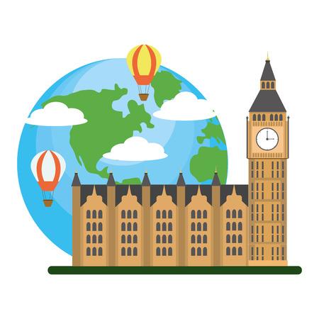 big ben clock tower london tourist attraction and landmark cartoon vector illustration graphic design
