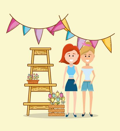 female friends enjoying spring outdoors vector illustration graphic design