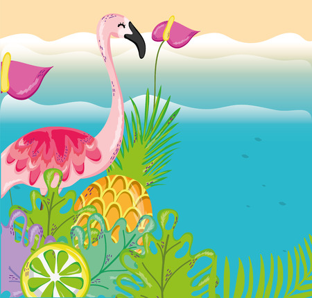 tropical beach scenery theme with bird and elements vector illustration graphic design