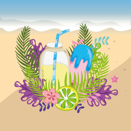 tropical beach scenery theme with cocktail drink and elements vector illustration graphic design