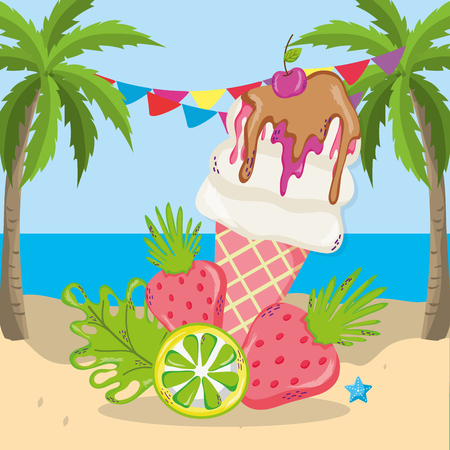 tropical beach scenery theme with ice cream and elements vector illustration graphic design