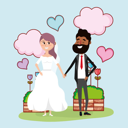 just married wedding couple card design vector illustration graphic design