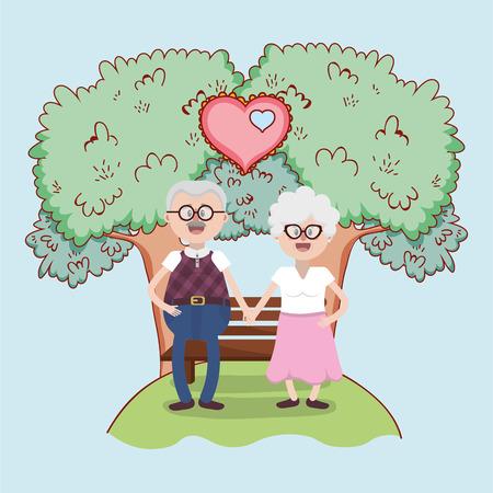 grandparents love couple together at park cartoon vector illustration graphic design