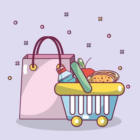 shopping breakfast food and carry bag vector illustration graphic design Ilustración de vector