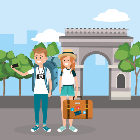 woman and man with smartphone and briefcase in the arc triomphe vector illustration Stock Illustratie