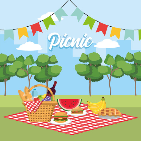 basket with healthy fruits in the tablecloth and party flags vector illustration Stockfoto - 110130689