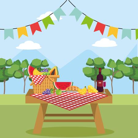 basket in the table with wine and healthy food vector illustration Ilustración de vector