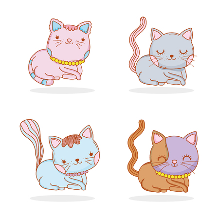set cute cat animal with whiskers vector illustration