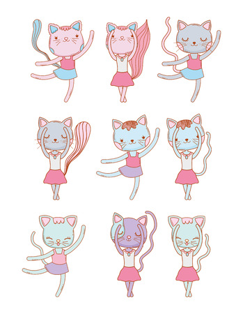set cute female cat dancing vector illustration