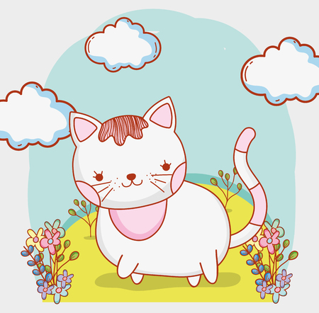 cute cat with clouds and flowers plants vector illustration