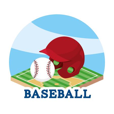 baseball helmet and ball in the field game vector illustration