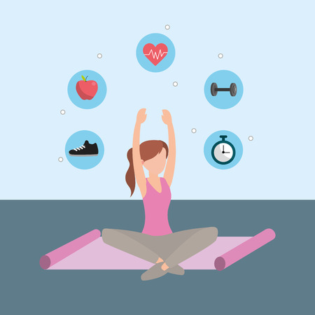 young woman doing yoga pose with exercise mat and icons cartoon vector illustration graphic design