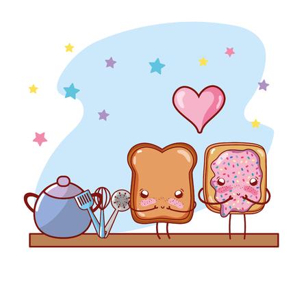 kitchen shelf cartoon kawaii cartoon Stock Photo