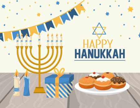hanukkah decoration with party flags and candles