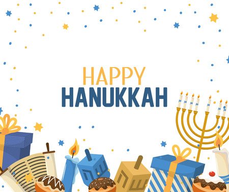 hanukkah celebration with presents and candles decoration Illustration